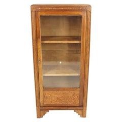 Vintage Display Cabinet, Art Deco Oak Glass Front Bookcase, Scotland 1930, B2738