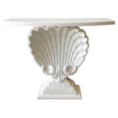 White Lacquered Shell Console by Grosfeld House, Restored
