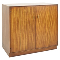 Mid Century Tigerwood and Brass Bar Record Media Base Cabinet Credenza