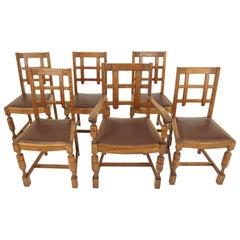 6 Antique Dining Chairs, Art Deco, 5 +1, Oak Chairs, Scotland 1930, B2741