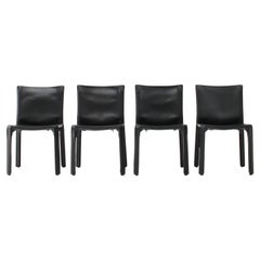 Set of 4 Mario Bellini Leather CAB Chairs in Black for Cassina, 1977, Italy