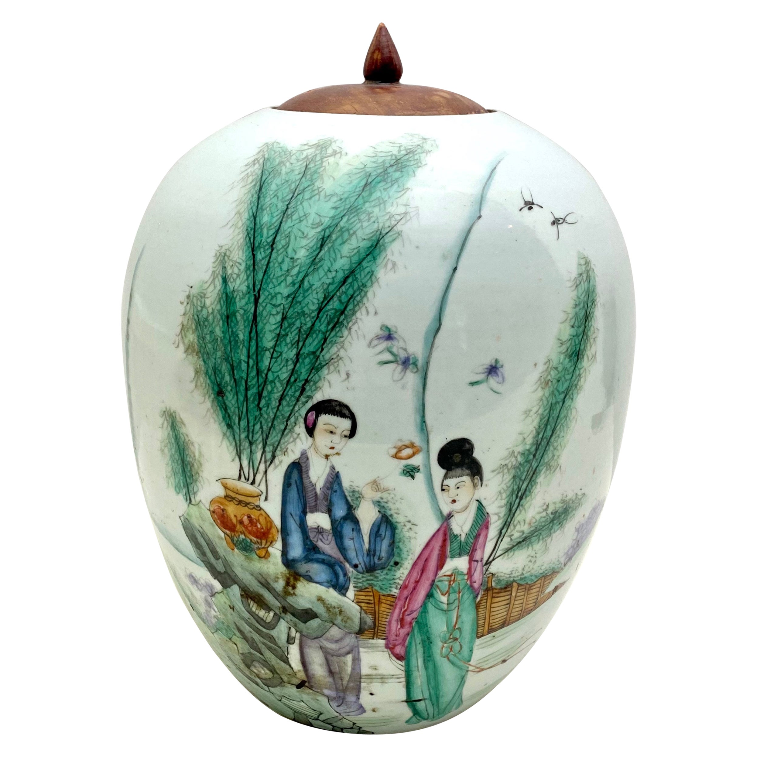 Chinese Porcelain Vase with Lid and Hand Painted Decoration