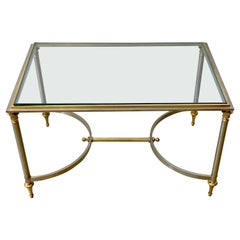 French Neoclassical Steel & Gilt Bronze Coffee Table, Style of Maison Jansen