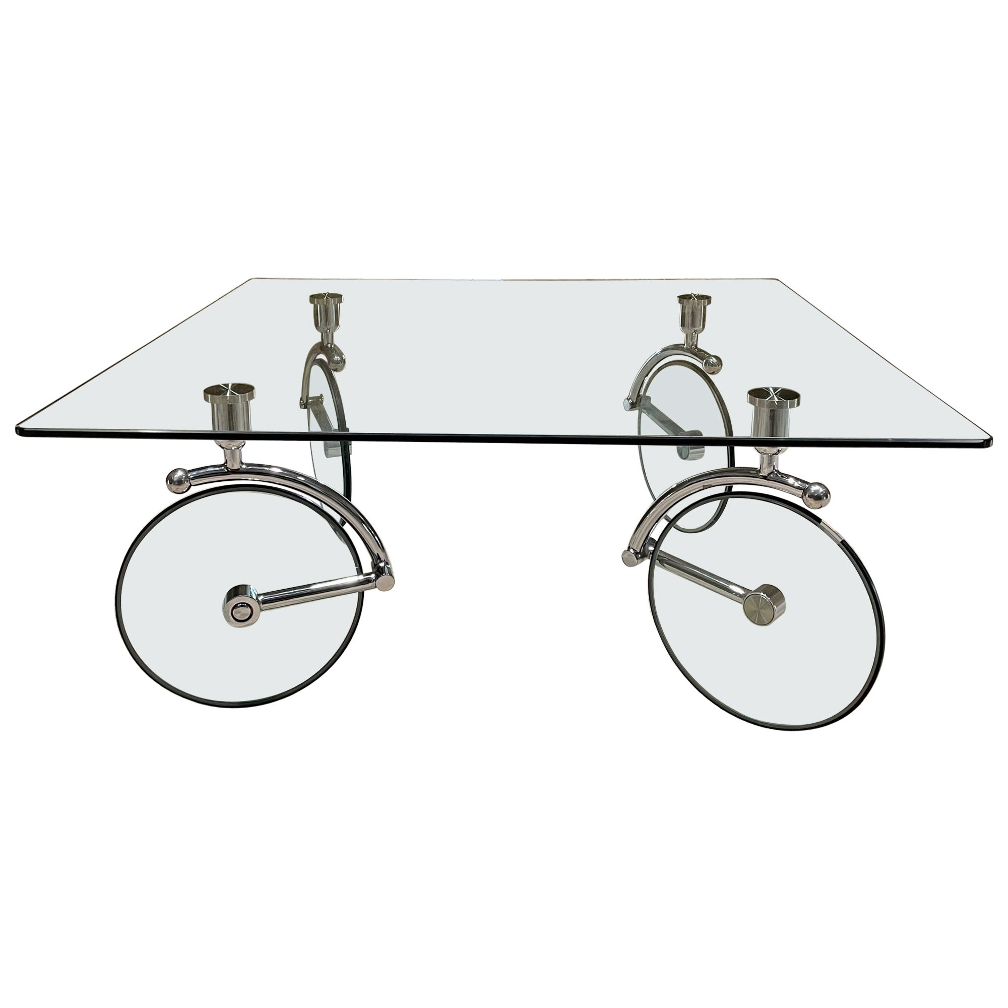 Bicycle Tour Glass Square Coffee Table on Wheels Gae Aulenti Fontana Arte Italy