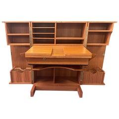 Danish Modern Foldable Teak Desk / Cabinet in the Style of Mummenthaler & Meier