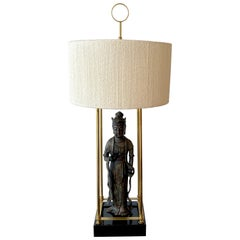 Modern Bronze Standing Figure of Guanyn Lamp, Attributed to Billy Haines
