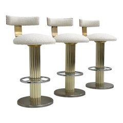 Designs For Leisure Chrome, Brass, and Boucle Barstools