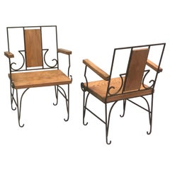 Pair French Mid-Century Modern Neoclassical Armchair, Style of Marc du Plantier