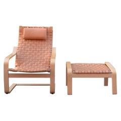 VINTAGE IKEA Poäng Saddle Leather Lounge Chair & Ottomane Noboru Nakamura 1999
