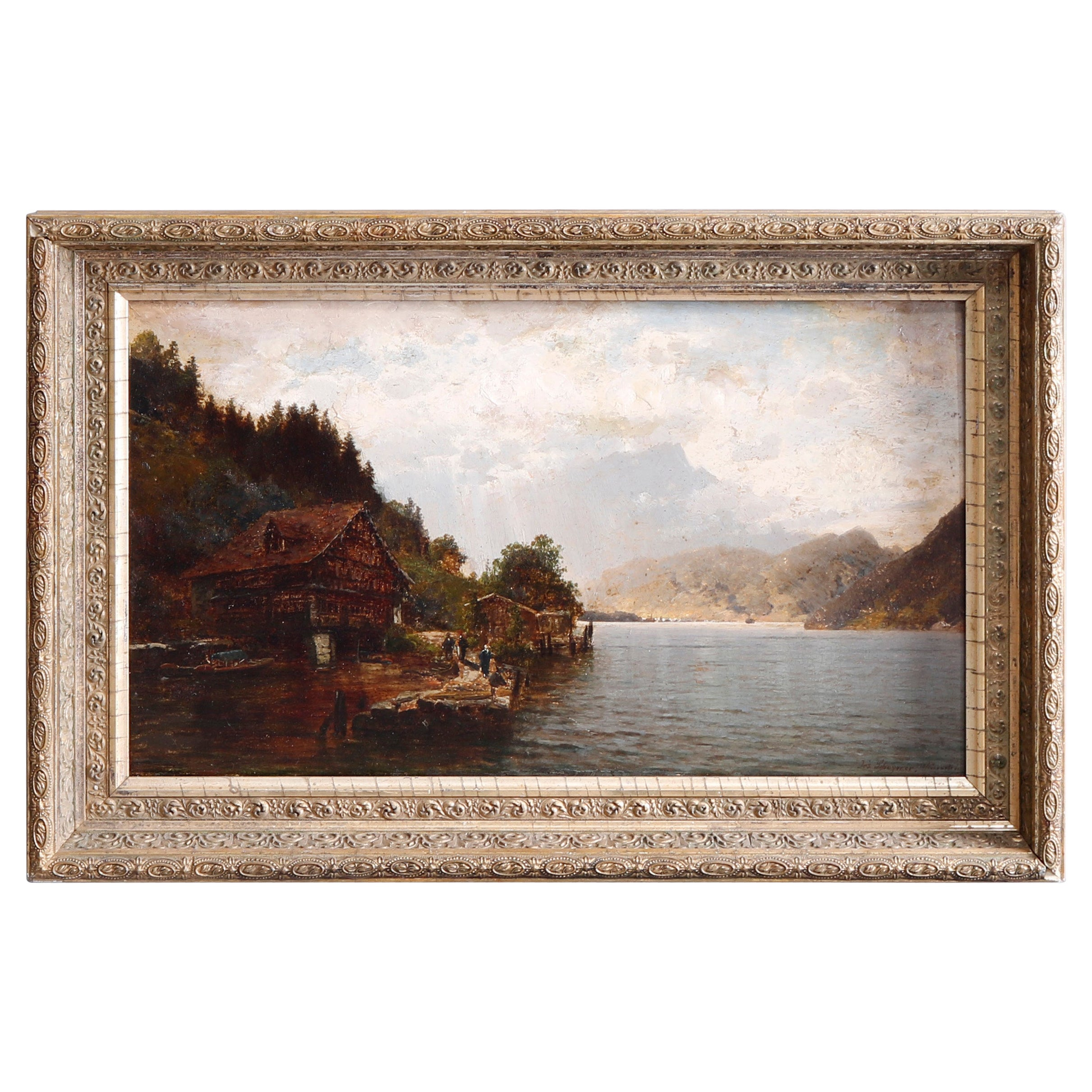 Antique Landscape Painting of Lake by Josef Schoyerer, 19th C