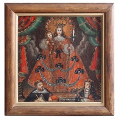 Antique English Hand Painted Oil on Canvas Reliquary, Madonna & Child, 19th C