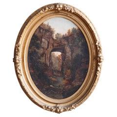 Antique Hudson River School Oil Painting, Natural Arch Landscape & Figures c1800