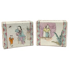 Pair of Chinese Export Famille Verte Pillows