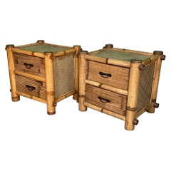 Vintage Bamboo and Rattan Nightstands, a Pair