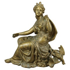 Antique Classical Gilt Metal Portrait Sculpture, Grecian Woman, c1890