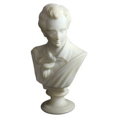 Antique Italian Carved Alabaster Bust Sculpture of Lord Biron, circa 1890