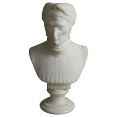 Antique Italian Carved Marble Bust Sculpture of Dante Alighieri, C 1890