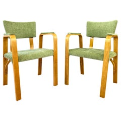Pair 1950s Bentwood Thonet Armchairs Green Upholstery