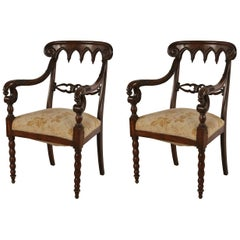 Pair of English Gothic Style Mahogany and Gold Damask Armchairs