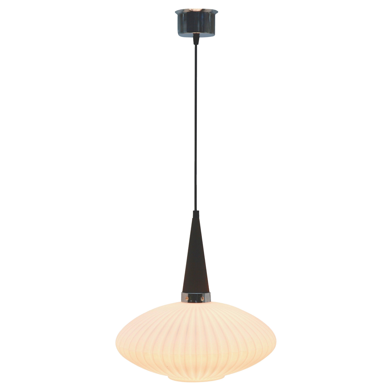 Midcentury Scandinavian Pendant Light, Wenge with Optical Opaline Shade