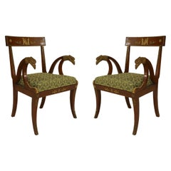 Pair of French Empire Green Armchairs with Bronze Mounts