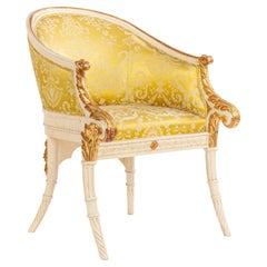 Italian Neo-Classic Style 19th Century White and Gold Arm Chair
