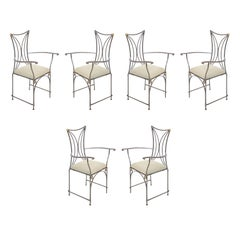 Set of 6 French Art Deco Cartier Brass and Steel Arm Chairs