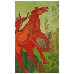 20th Century Mixed Media on Canvas Italian Signed Surrealist Painting Horse