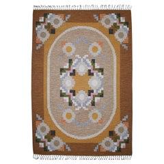 Large Swedish Rölakan Flat-Weave Carpet by Ingegerd Silow, 1960s