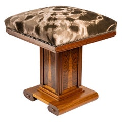Rare Art Deco Stool in Oak and Oak Marquetry