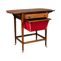 Antique Drop Leaf Sewing Table, English, Rosewood, Side, Lamp, Regency, C.1820