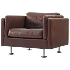 Illum Wikkelsø Cubic Lounge Chair in Brown Leather