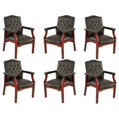 Set of 6 English Georgian Style Black Tufted Faux Leather Conference/Armchairs