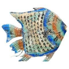 New Blu Decorative Metal Fish Sculpture
