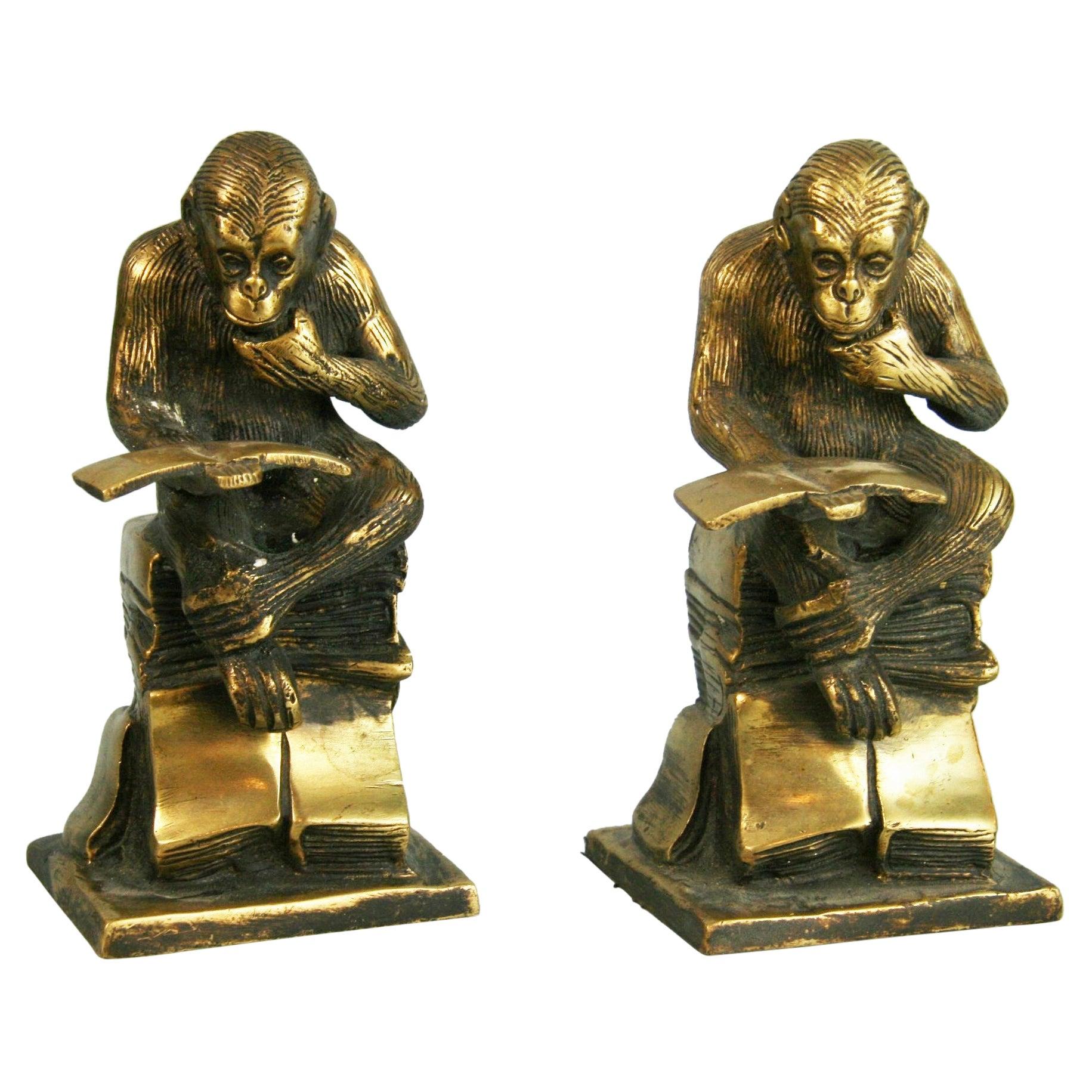 Pair Art Deco Bronze Monkey Bookends/Sculptures