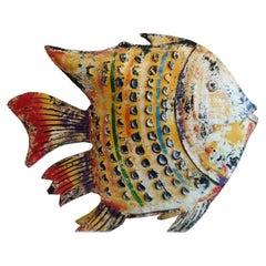 New Yellow Decorative Metal Fish Sculpture