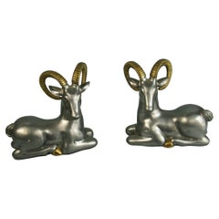 Pair Pewter and Brass Bookends/Sculptures