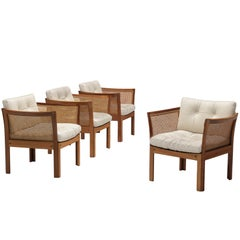 Illum Wikkelsø Set of Four Lounge Chairs in Mahogany and Cane
