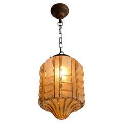 Rare Rounded Geometrical Design Art Deco Pendant Light with Brass Chain & Canopy