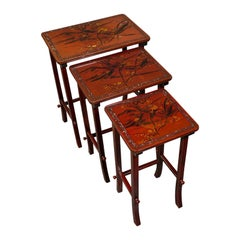 Antique Nest of 3 Occasional Side Tables, Oriental, Japanned, Victorian, C.1900