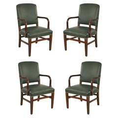 Set of 4 English Victorian Style Green Leather and Mahogany Armchairs