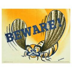 Original Vintage WWII Propaganda Poster Beware Wasp Design War Production Drive
