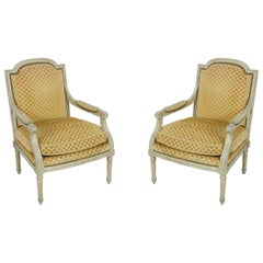 Pair of Louis XVI-Style Gold Upholstered Fauteuils / Armchairs