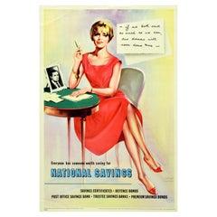 Original Vintage Poster National Savings Premium Bonds Dreams Come True Letter