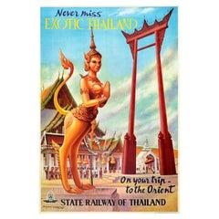 Original Vintage Travel Poster Exotic Thailand State Railway Orient Temple Gate