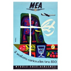 Original Vintage Advertising Poster Middle East Airlines MEA Cargo Plane 850km/h