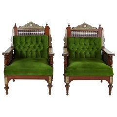 Pair of Syrian Style Inlaid and Upholstered Walnut Armchairs