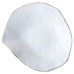 Indulge Nº6 / White + 24k Golden Rim / Large Plate, Handmade Porcelain Tableware
