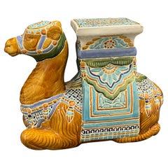 Patio Decoration Ceramic Hollywood Regency Camel Garden Stool or Side Table