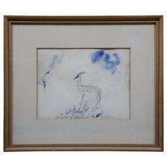 Vintage Olive Rush Gazelle Antelope Watercolor Painting Wildlife Animal